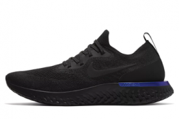 Nike Epic React Flyknit Negras y detalle Azul