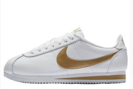 Nike Cortez Classic de piel Blancas y Doradas